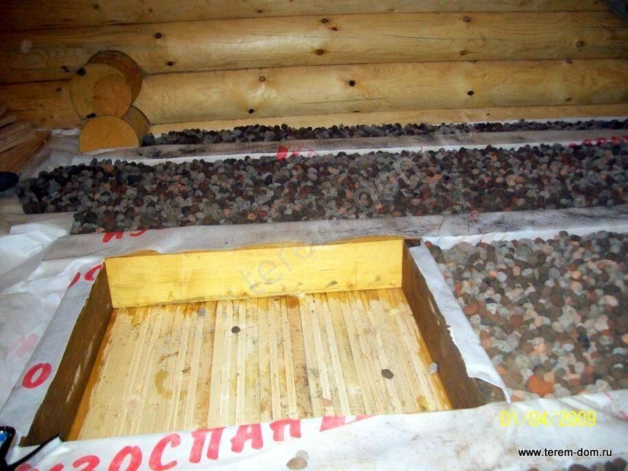 Утепление потолка бани керамзитом своими руками 90